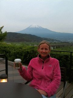 Writer Amy Chavez, living in Japan, enjoying Starbucks & Mt. Fuji