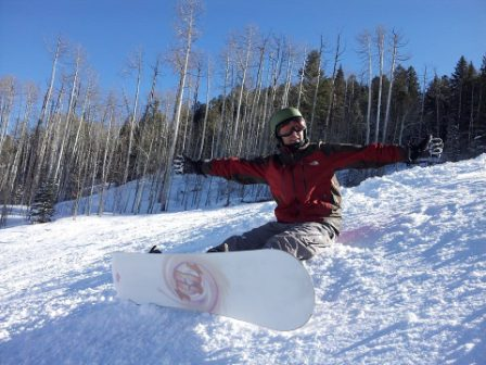 David Celebrating a Completely Empty Run at Snowmass on a Saturday Afternoon