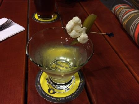 Celery and Bay Leaf Infused Vodka with Pickled Celery and Cauliflower (Lompoc Brewery)