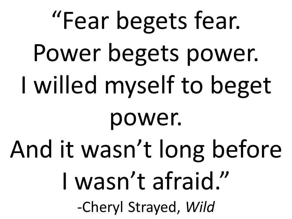"""Fear begets fear.  Power begets power.  I willed myself to beget power.  And it wasn't long before I wasn't afraid."" -Cheryl Strayed, Wild"